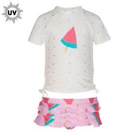 Snapper Rock -  UV werend T shirt met broekje  - Watermeloen
